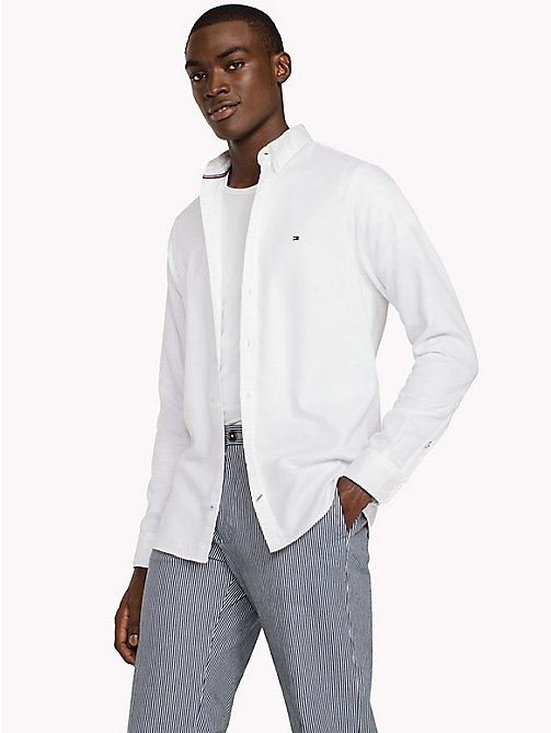TOMMY HILFIGER Two Tone Cotton Shirt - BRIGHT WHITE - TOMMY HILFIGER Casual Shirts - detail image 1