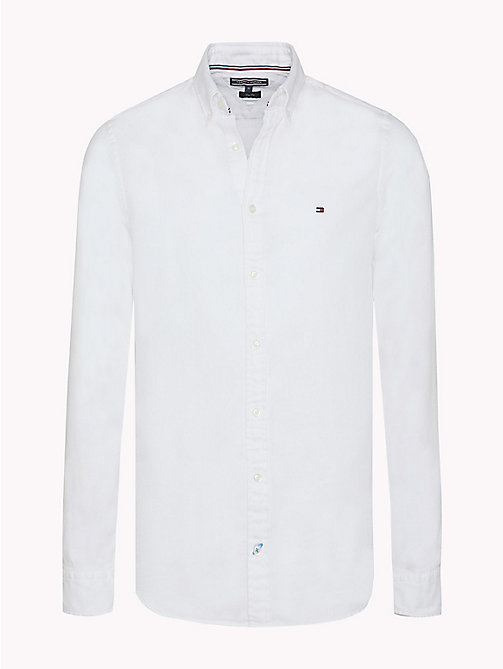 TOMMY HILFIGER Two Tone Cotton Shirt - BRIGHT WHITE - TOMMY HILFIGER Casual Shirts - main image