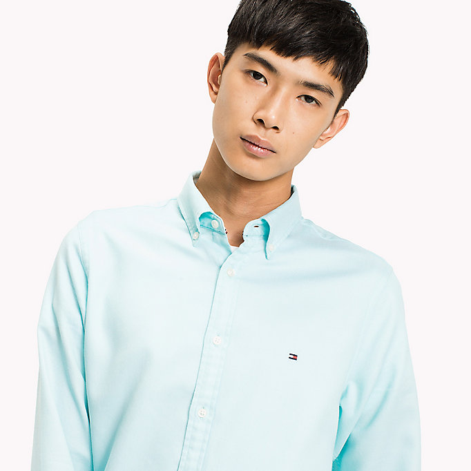 TOMMY HILFIGER Two Tone Cotton Shirt - BRIGHT WHITE - TOMMY HILFIGER Clothing - detail image 3