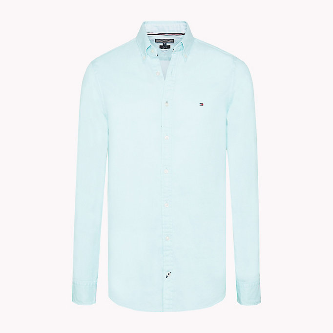 TOMMY HILFIGER Two Tone Cotton Shirt - BRIGHT WHITE - TOMMY HILFIGER Men - main image