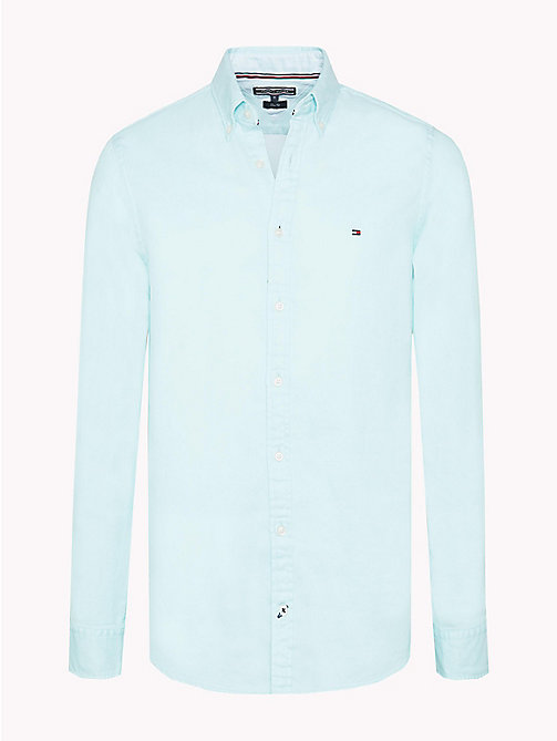 TOMMY HILFIGER Two Tone Cotton Shirt - ANGEL BLUE - TOMMY HILFIGER Casual Shirts - main image