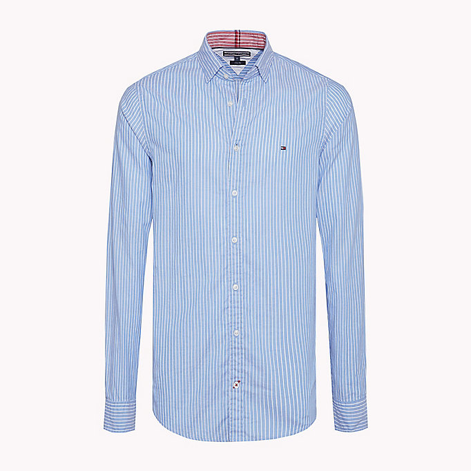 TOMMY HILFIGER Stripe Dobby Slim Fit Shirt - DUTCH NAVY / BRIGHT WHITE - TOMMY HILFIGER Clothing - main image