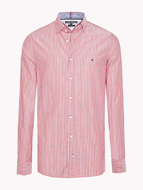 TOMMY HILFIGER Chemise en dobby rayée ajustée - HAUTE RED / BRIGHT WHITE -  Chemises Casual - image principale