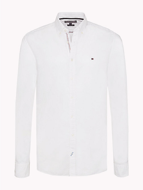 TOMMY HILFIGER Cotton Linen Regular Fit Shirt - BRIGHT WHITE - TOMMY HILFIGER Casual Shirts - main image