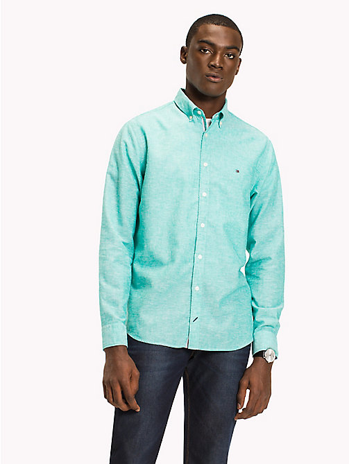 TOMMY HILFIGER Cotton Linen Regular Fit Shirt - SPECTRA GREEN - TOMMY HILFIGER Casual Shirts - detail image 1