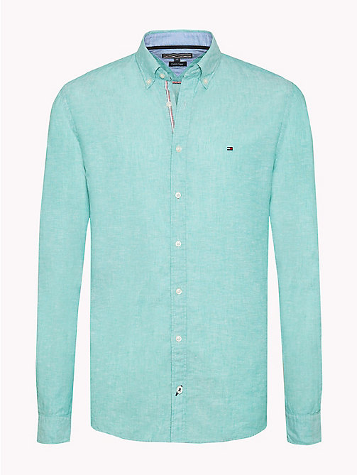 TOMMY HILFIGER Cotton Linen Regular Fit Shirt - SPECTRA GREEN - TOMMY HILFIGER Casual Shirts - main image