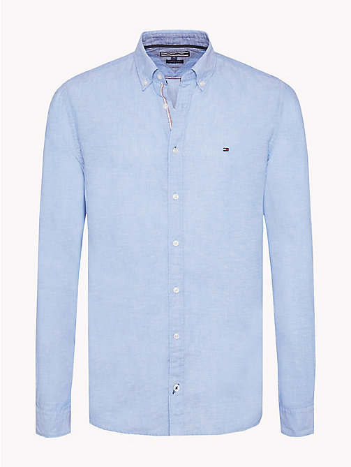 TOMMY HILFIGER Camicia regular fit in cotone e lino - REGATTA - TOMMY  HILFIGER Camicie Casual ...