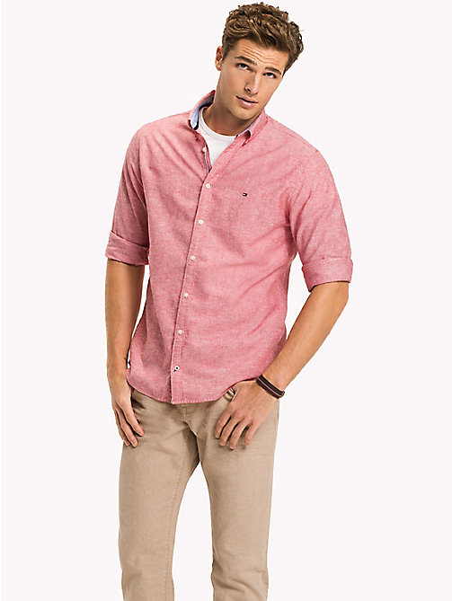 TOMMY HILFIGER Cotton Linen Regular Fit Shirt - HAUTE RED - TOMMY HILFIGER Casual Shirts - detail image 1