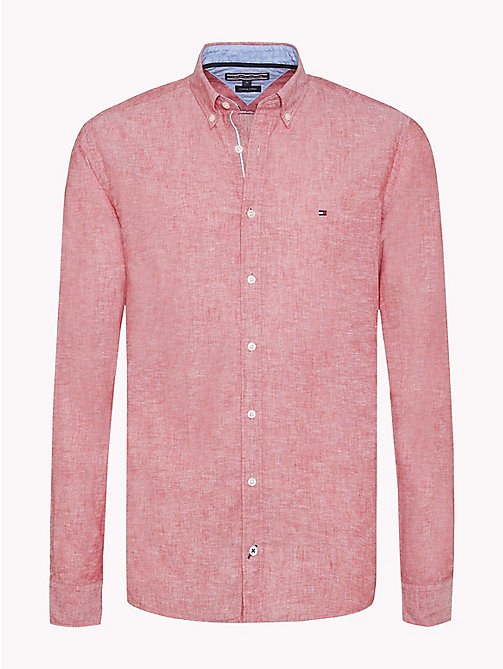 TOMMY HILFIGER Cotton Linen Regular Fit Shirt - HAUTE RED - TOMMY HILFIGER Casual Shirts - main image