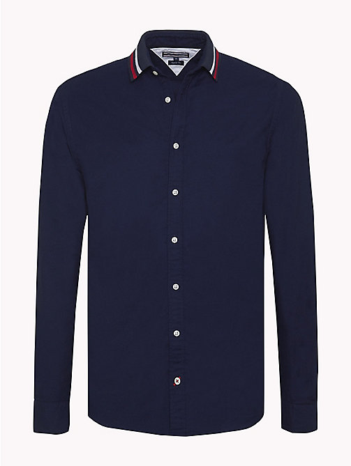 TOMMY HILFIGER Ribbed Logo Collar Shirt - MARITIME BLUE / MULTI - TOMMY HILFIGER NEW IN - main image