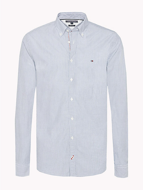 TOMMY HILFIGER Fine Stripe Slim Fit Shirt - ESTATE BLUE / BRIGHT WHITE - TOMMY HILFIGER Casual Shirts - main image