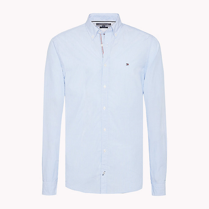 TOMMY HILFIGER Fijngestreept slim fit overhemd - ESTATE BLUE / BRIGHT WHITE - TOMMY HILFIGER Heren - main image