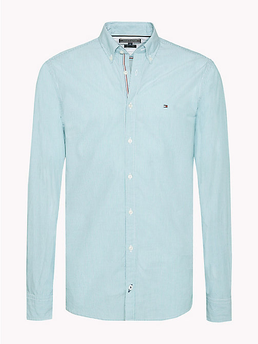 TOMMY HILFIGER Fine Stripe Slim Fit Shirt - FANFARE / BRIGHT WHITE - TOMMY HILFIGER Casual Shirts - main image