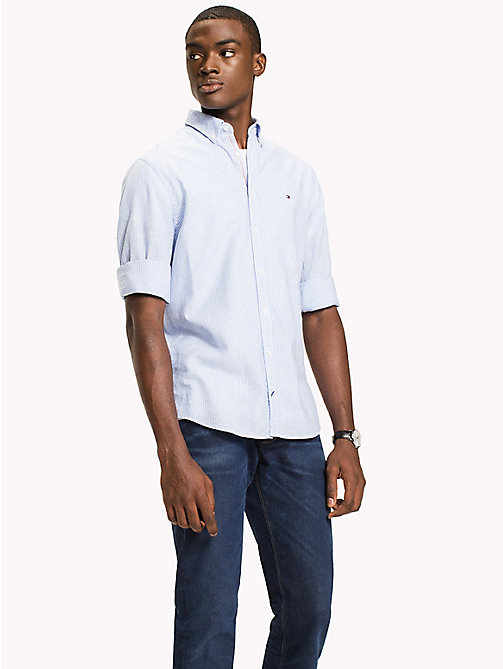 TOMMY HILFIGER Stripe Cotton Linen Regular Fit Shirt - REGATTA / BRIGHT WHITE - TOMMY HILFIGER Casual Shirts - detail image 1