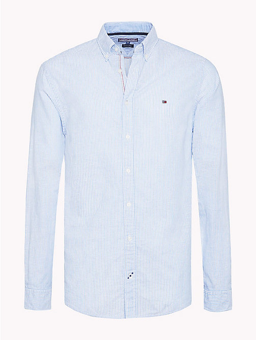 TOMMY HILFIGER Stripe Cotton Linen Regular Fit Shirt - REGATTA / BRIGHT WHITE - TOMMY HILFIGER Casual Shirts - main image