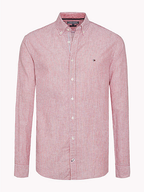 TOMMY HILFIGER Stripe Cotton Linen Regular Fit Shirt - HAUTE RED / BRIGHT WHITE - TOMMY HILFIGER Casual Shirts - main image