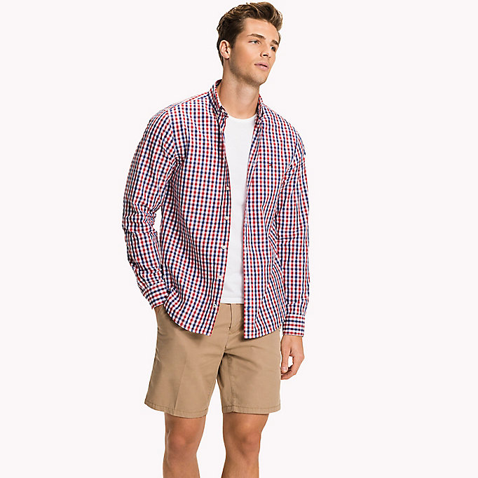 TOMMY HILFIGER Multi-Colour Gingham Regular Fit Shirt - CINNAMON STICK / DUTCH BLUE / BW - TOMMY HILFIGER Men - detail image 1