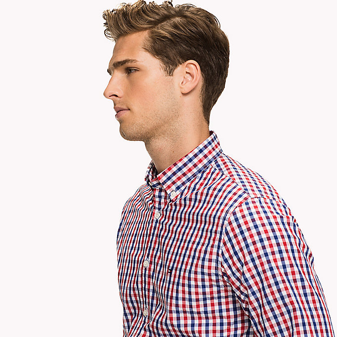 TOMMY HILFIGER Multi-Colour Gingham Regular Fit Shirt - CINNAMON STICK / DUTCH BLUE / BW - TOMMY HILFIGER Men - detail image 3