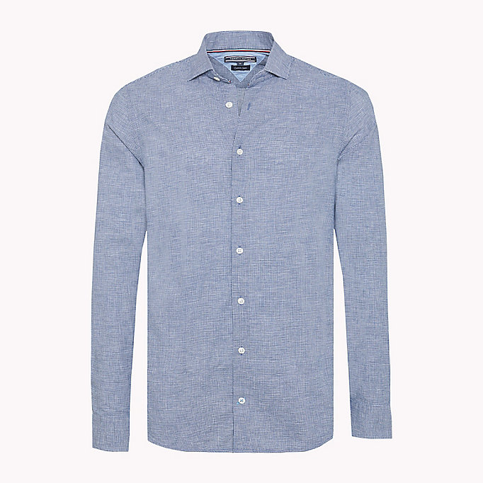 TOMMY HILFIGER Micro Check Slim Fit Shirt - SHIRT BLUE / BRIGHT WHITE - TOMMY HILFIGER Men - main image