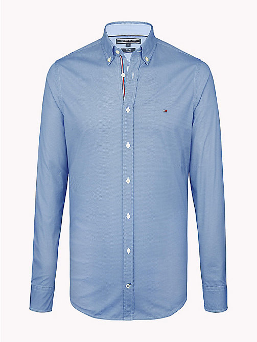 TOMMY HILFIGER Hexagon Print Slim Fit Shirt - ESTATE BLUE / BRIGHT WHITE - TOMMY HILFIGER Casual Shirts - main image