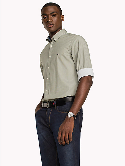 TOMMY HILFIGER Slim Fit Shirt mit Sechseckprint - FOUR LEAF CLOVER / BRIGHT WHITE - TOMMY HILFIGER Freizeithemden - main image 1