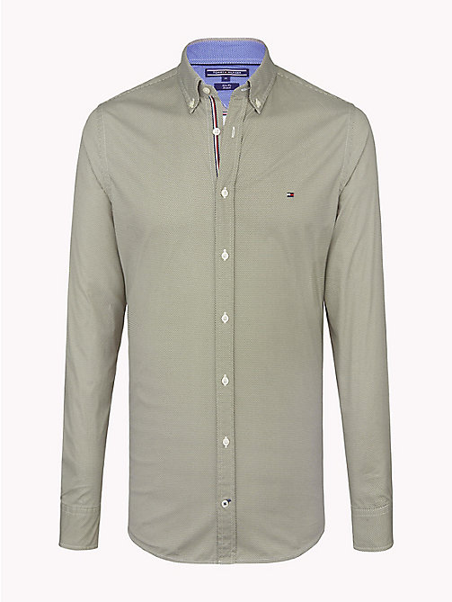 TOMMY HILFIGER Hexagon Print Slim Fit Shirt - FOUR LEAF CLOVER / BRIGHT WHITE - TOMMY HILFIGER Casual Shirts - main image