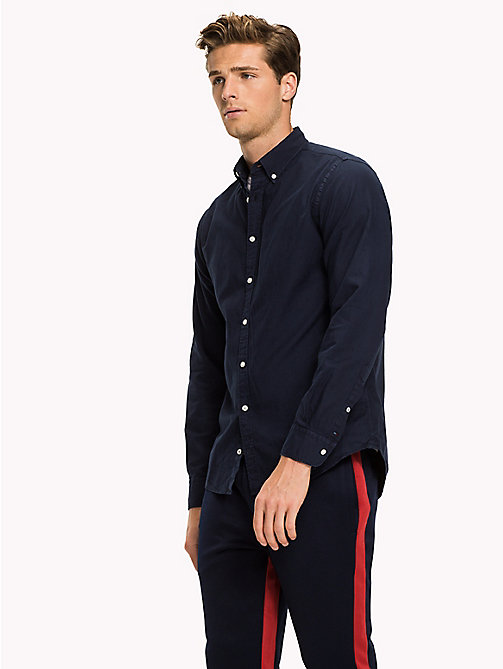 TOMMY HILFIGER Garment-Dyed Regular Fit Shirt - NAVY BLAZER - TOMMY HILFIGER Casual Shirts - detail image 1