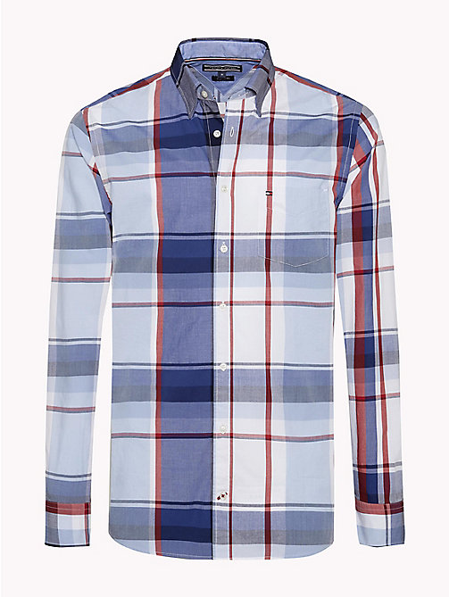 TOMMY HILFIGER Irregular Check Pattern Shirt - SODALITE BLUE / HAUTE RED / MULTI - TOMMY HILFIGER Casual Shirts - main image
