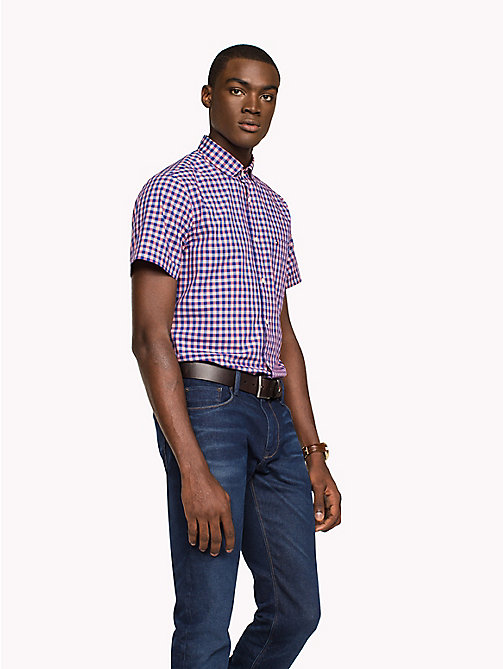 TOMMY HILFIGER Gingham Slim Fit Shirt - ROSE OF SHARON / SODALITE BLUE - TOMMY HILFIGER Casual Shirts - detail image 1