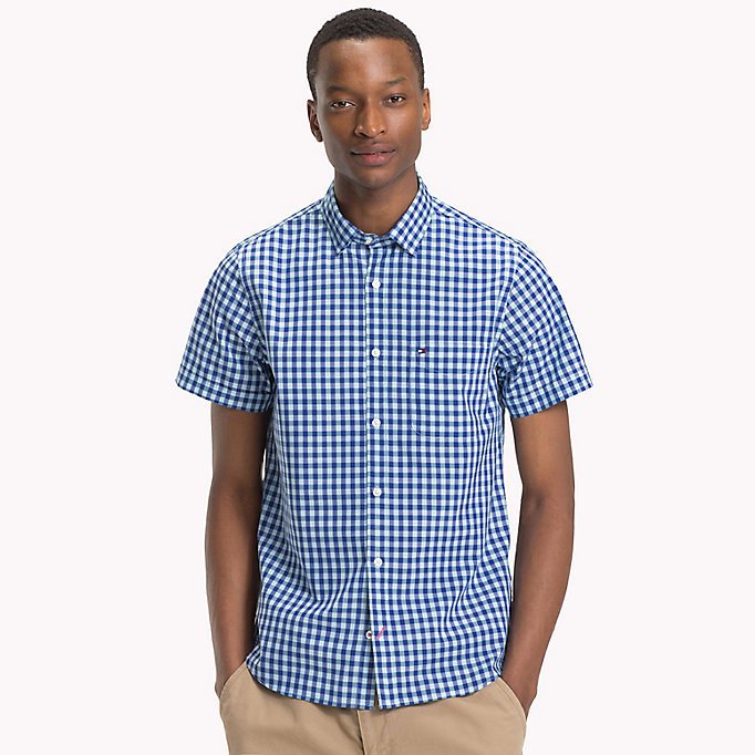 TOMMY HILFIGER Gingham slim fit overhemd - ROSE OF SHARON / SODALITE BLUE - TOMMY HILFIGER Heren - detail image 1