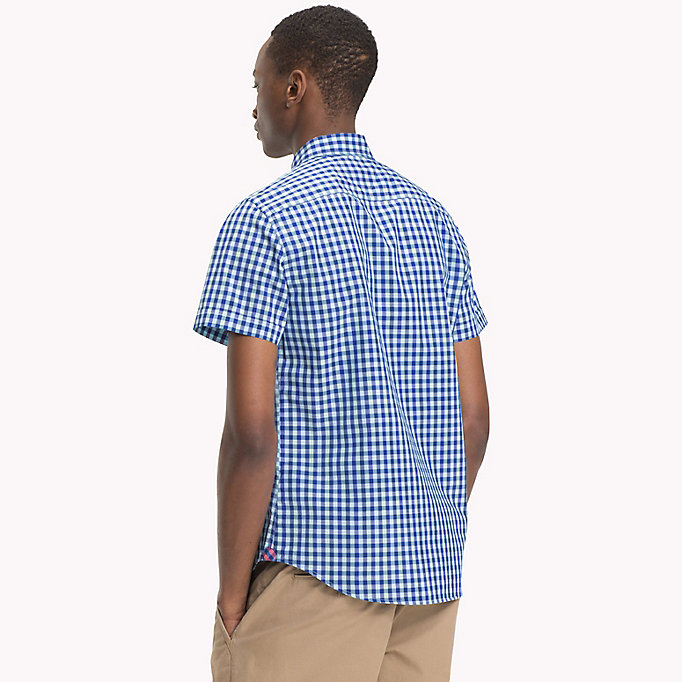 TOMMY HILFIGER Gingham slim fit overhemd - ROSE OF SHARON / SODALITE BLUE - TOMMY HILFIGER Heren - detail image 2