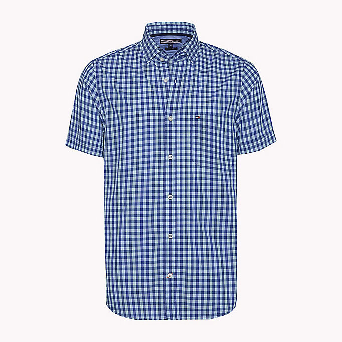 TOMMY HILFIGER Gingham slim fit overhemd - ROSE OF SHARON / SODALITE BLUE - TOMMY HILFIGER Heren - main image