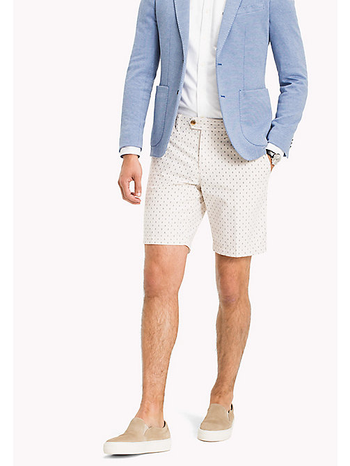 TOMMY HILFIGER Shorts estampados de textura Oxford y corte regular - OYSTER GRAY - TOMMY HILFIGER Men - imagen principal