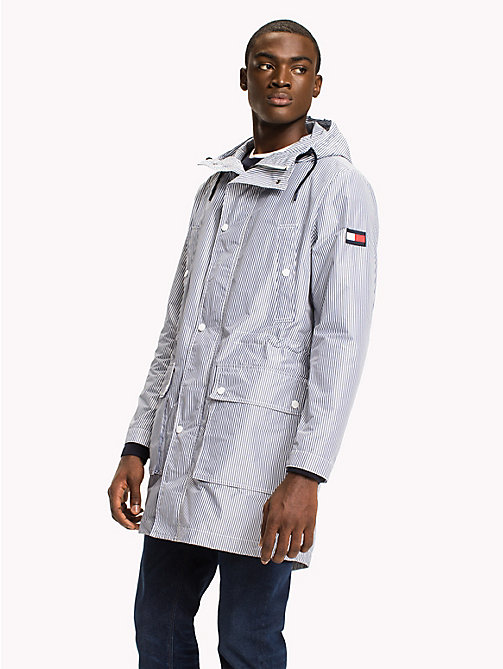TOMMY HILFIGER Ithaca Stripe Parka Jacket - WHITE/BLUE - TOMMY HILFIGER Clothing - main image