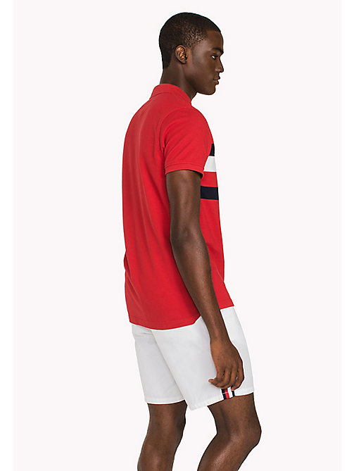 TOMMY HILFIGER Chest Stripe Slim Fit Polo Shirt - HAUTE RED / MULTI -  Polo Shirts - detail image 1