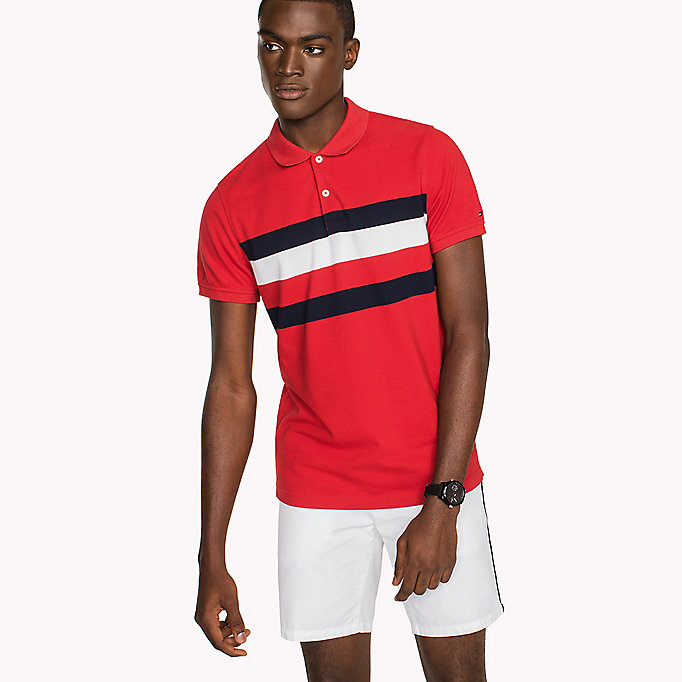 TOMMY HILFIGER Chest Stripe Slim Fit Polo Shirt - SODALITE BLUE / MULTI - TOMMY HILFIGER Clothing - main image