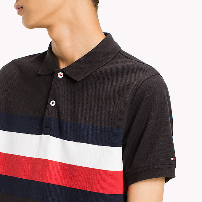 TOMMY HILFIGER Chest Stripe Slim Fit Polo Shirt - CLOUD HTR / MULTI - TOMMY HILFIGER Clothing - detail image 2