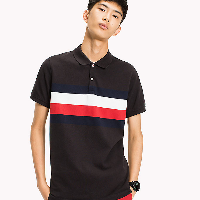 TOMMY HILFIGER Chest Stripe Slim Fit Polo Shirt - CLOUD HTR / MULTI - TOMMY HILFIGER Clothing - main image