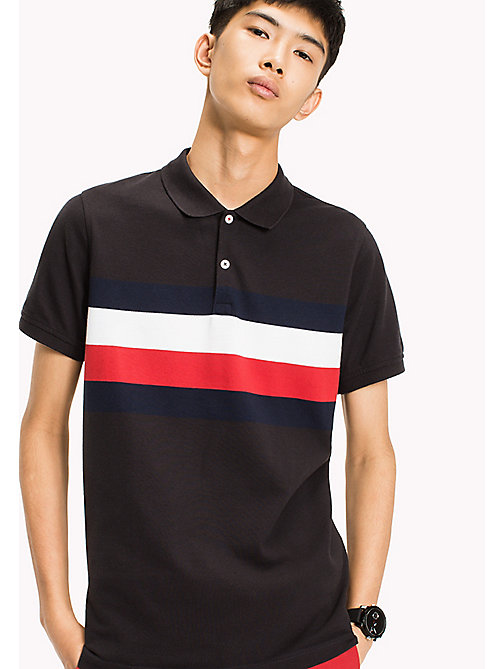TOMMY HILFIGER Chest Stripe Slim Fit Polo Shirt - JET BLACK / MULTI - TOMMY HILFIGER Polo Shirts - main image