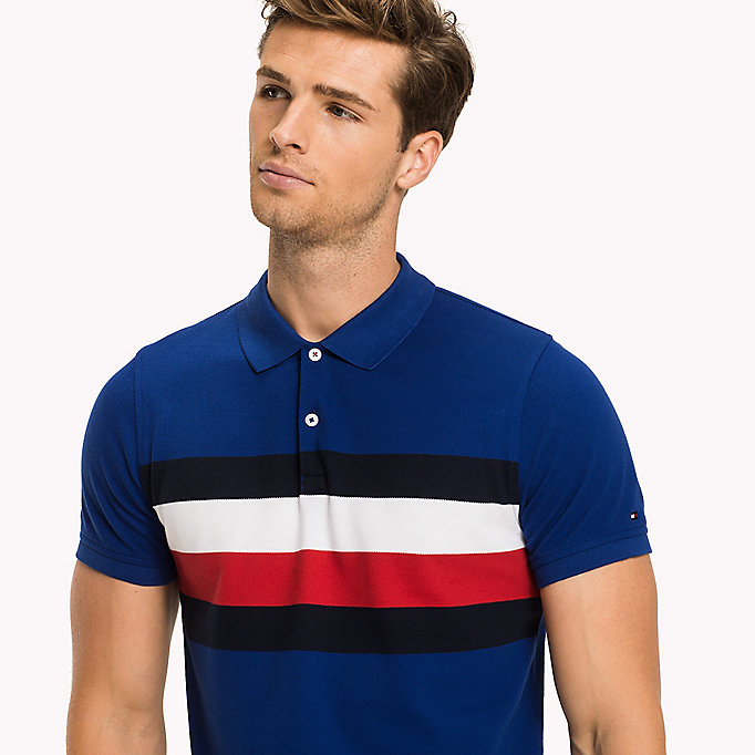 TOMMY HILFIGER Chest Stripe Slim Fit Polo Shirt - JET BLACK / MULTI - TOMMY HILFIGER Clothing - detail image 2