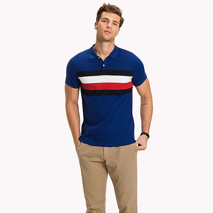 TOMMY HILFIGER Chest Stripe Slim Fit Polo Shirt - JET BLACK / MULTI - TOMMY HILFIGER Clothing - main image