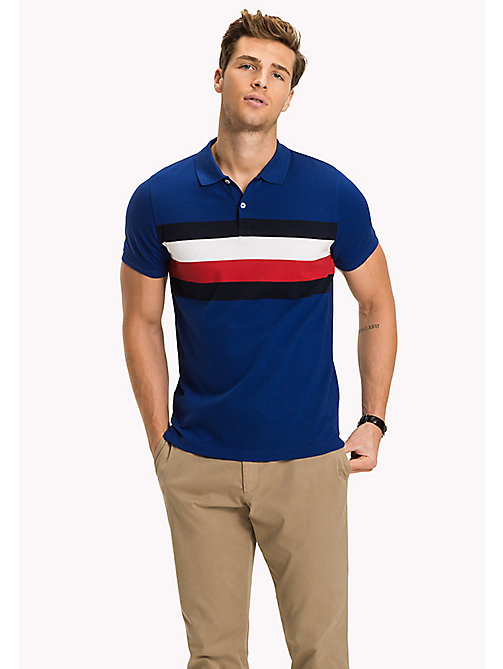 TOMMY HILFIGER Chest Stripe Slim Fit Polo Shirt - SODALITE BLUE / MULTI - TOMMY HILFIGER Polo Shirts - main image