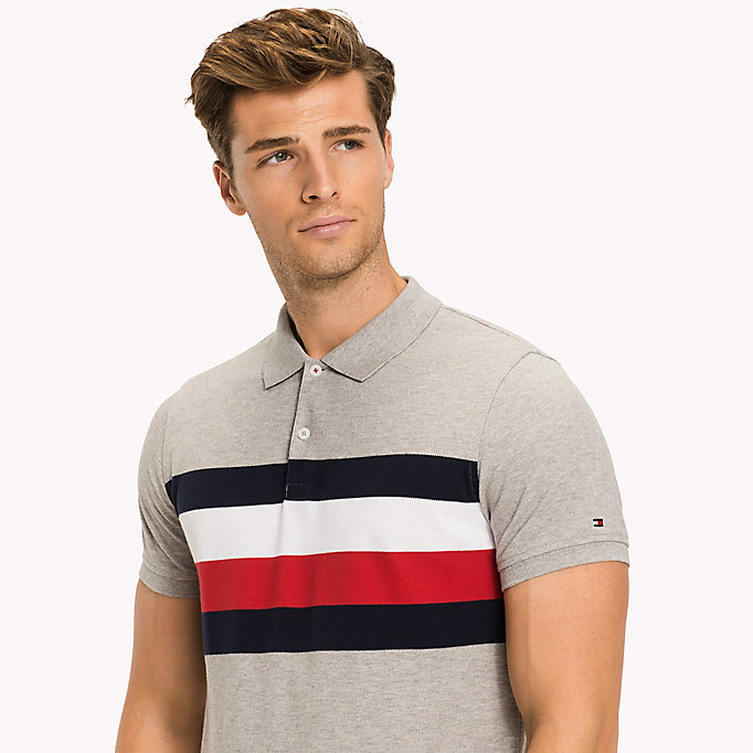 TOMMY HILFIGER Chest Stripe Slim Fit Polo Shirt - BRIGHT WHITE / MULTI - TOMMY HILFIGER Clothing - detail image 2