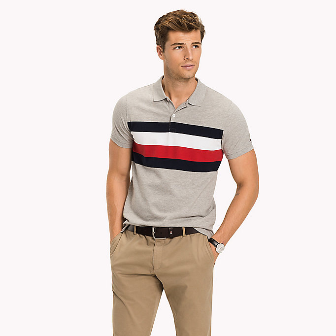 TOMMY HILFIGER Chest Stripe Slim Fit Polo Shirt - BRIGHT WHITE / MULTI - TOMMY HILFIGER Clothing - main image