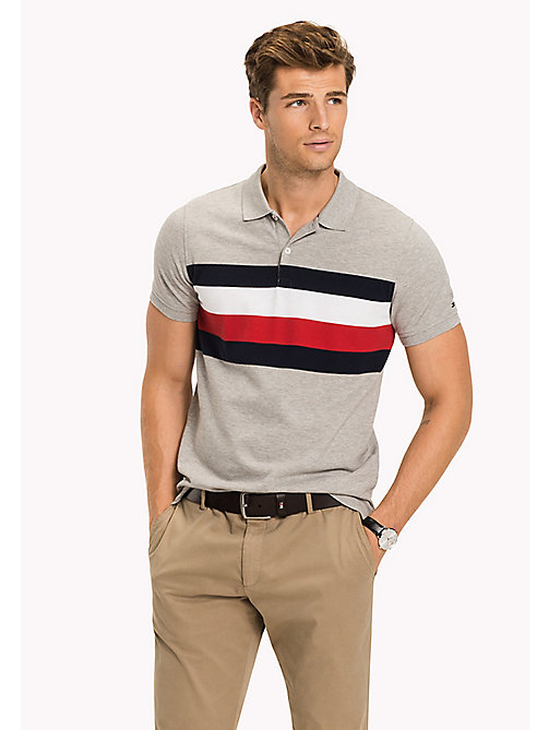 TOMMY HILFIGER Chest Stripe Slim Fit Polo Shirt - CLOUD HTR / MULTI - TOMMY HILFIGER Polo Shirts - main image