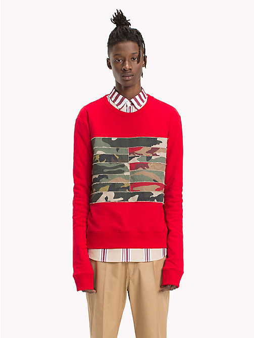 HILFIGER COLLECTION Camouflage Flag Panel Sweatshirt - BARBADOS CHERRY - HILFIGER COLLECTION HILFIGER COLLECTION - main image
