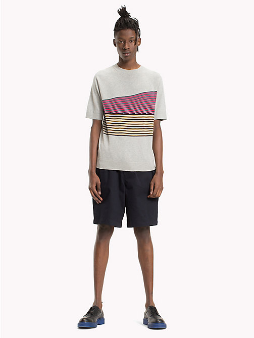 HILFIGER COLLECTION Knitted Stripe T-Shirt - CLOUD HTR - HILFIGER COLLECTION Clothing - main image
