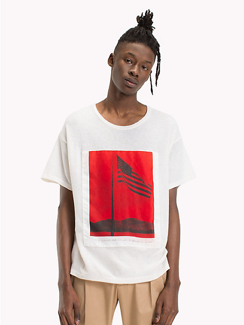 HILFIGER COLLECTION Graphic Flag Print T-Shirt - BRIGHT WHITE - HILFIGER COLLECTION TOMMY'S PADDOCK - main image