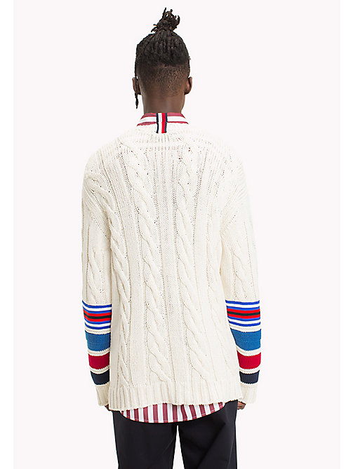 HILFIGER COLLECTION Pullover da cricket in maglia intrecciata - BRIGHT WHITE - HILFIGER COLLECTION HILFIGER COLLECTION - dettaglio immagine 1