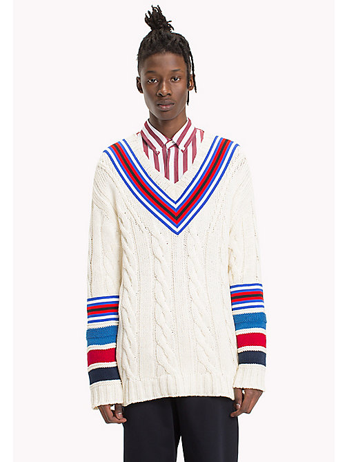 HILFIGER COLLECTION Pullover da cricket in maglia intrecciata - BRIGHT WHITE - HILFIGER COLLECTION Hilfiger Collection - immagine principale